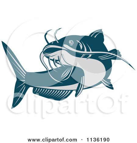 Clipart Of A Retro Blue Catfish - Royalty Free Vector Illustration by patrimonio