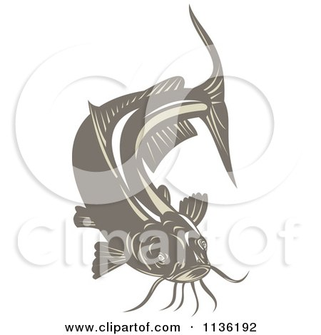 Clipart Of A Retro Brown Catfish - Royalty Free Vector Illustration by patrimonio