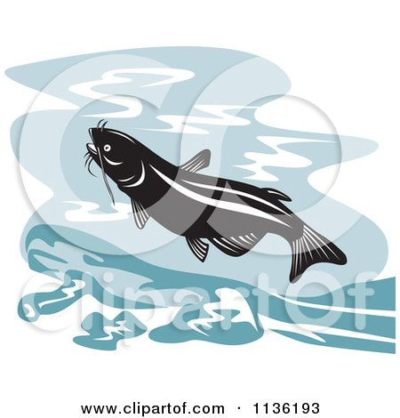Clipart Of A Retro Leaping Catfish - Royalty Free Vector Illustration by patrimonio
