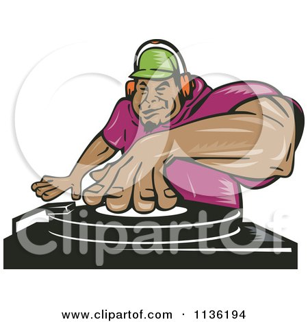 Clipart Of A Black Male Dj Mixing Records - Royalty Free Vector Illustration by patrimonio