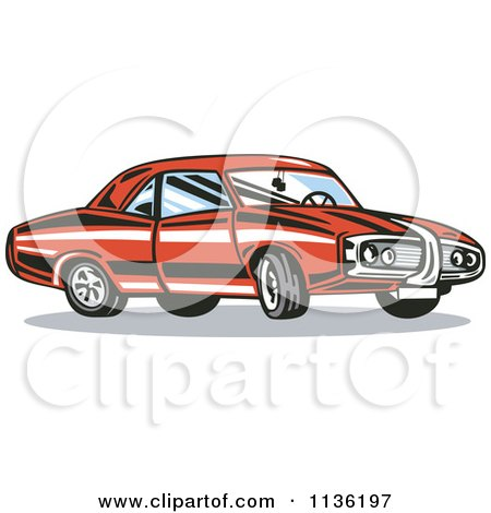Clipart Of A Retro Red Muscle Car - Royalty Free Vector Illustration by patrimonio
