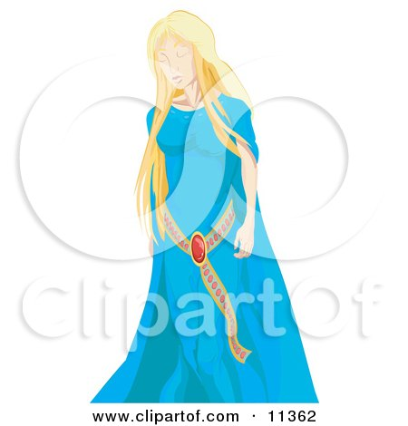 Young Blond Princess in a Blue Dress Clipart Illustration by AtStockIllustration