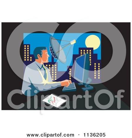 Clipart Of A Retro Businessman Working On A Computer In An Urban Office - Royalty Free Vector Illustration by patrimonio