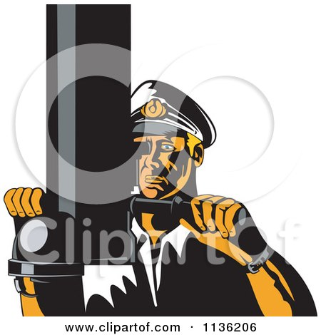 Clipart Of A Retro Submarine Captain Viewing Through A Periscope - Royalty Free Vector Illustration by patrimonio
