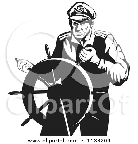 Clipart Of A Retro Black And White Steering Captain - Royalty Free Vector Illustration by patrimonio