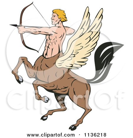 Clipart Of A Retro Winged Centaur Archer - Royalty Free Vector Illustration by patrimonio