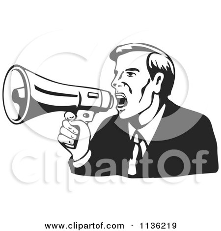 Clipart Of A Retro Black And Businessman Shouting Into A Megaphone - Royalty Free Vector Illustration by patrimonio