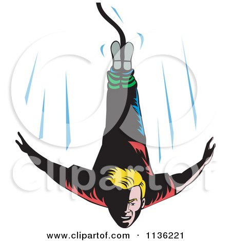 Clipart Of A Retro Blond Bungee Jumper Falling - Royalty Free Vector Illustration by patrimonio