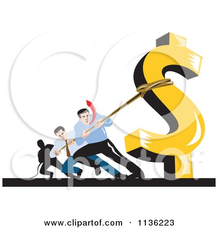 Clipart Of Retro Businessman Pulling Against A Dollar Symbol - Royalty Free Vector Illustration by patrimonio