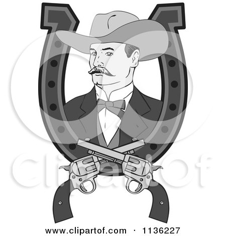 Clipart Of A Retro Grayscale Cowboy In A Horseshoe With Crossed Pistols - Royalty Free Vector Illustration by patrimonio