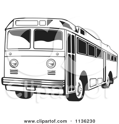 Clipart Of A Retro Black And White Bus - Royalty Free Vector Illustration by patrimonio