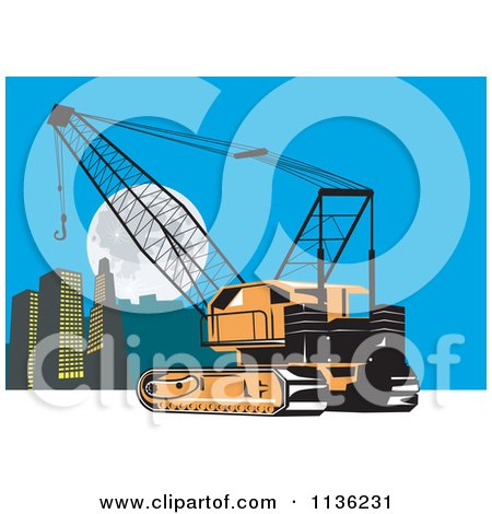 Clipart Of A Retro Construction Crane And City - Royalty Free Vector Illustration by patrimonio
