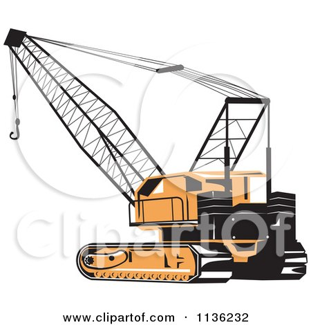 Clipart Of A Retro Construction Crane - Royalty Free Vector Illustration by patrimonio