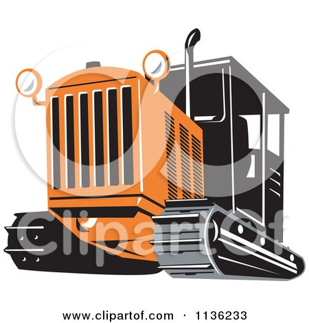 Clipart Of A Retro Bulldozer Machine 3 - Royalty Free Vector Illustration by patrimonio