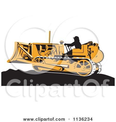 Clipart Of A Retro Worker Operating Bulldozer Machine 1 - Royalty Free Vector Illustration by patrimonio