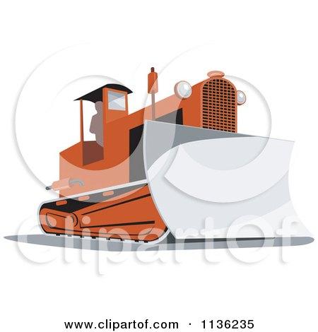 Clipart Of A Retro Bulldozer Machine 2 - Royalty Free Vector Illustration by patrimonio
