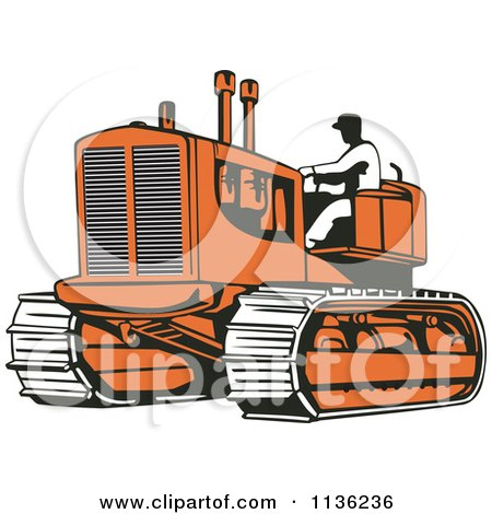 Clipart Of A Retro Worker Operating Bulldozer Machine 2 - Royalty Free Vector Illustration by patrimonio