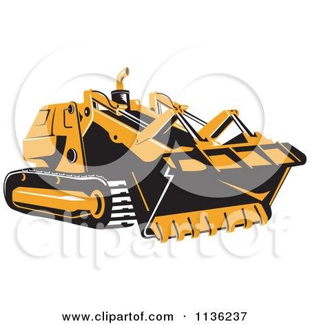 Clipart Of A Retro Bulldozer Machine 1 - Royalty Free Vector Illustration by patrimonio