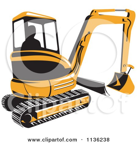 Clipart Of A Retro Yellow Excavator Bulldozer - Royalty Free Vector Illustration by patrimonio