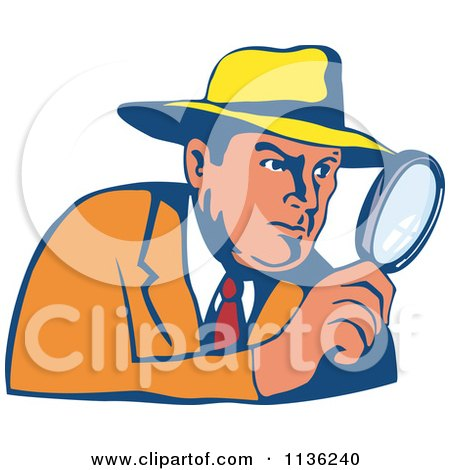 Clipart Of A Retro Detective Peering Through A Magnifying Glass - Royalty Free Vector Illustration by patrimonio
