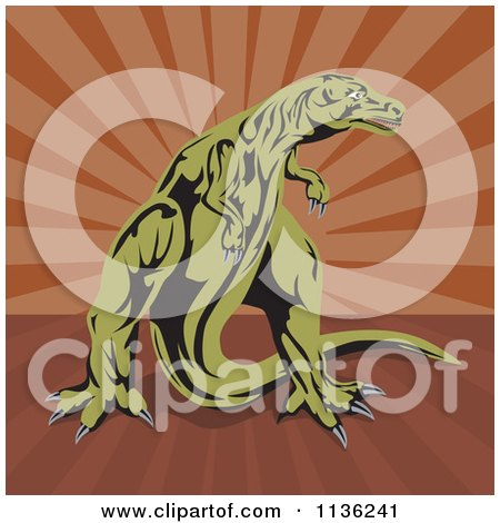 Clipart Of A Retro Tyrannosaurus Rex Over Brown Rays - Royalty Free Vector Illustration by patrimonio