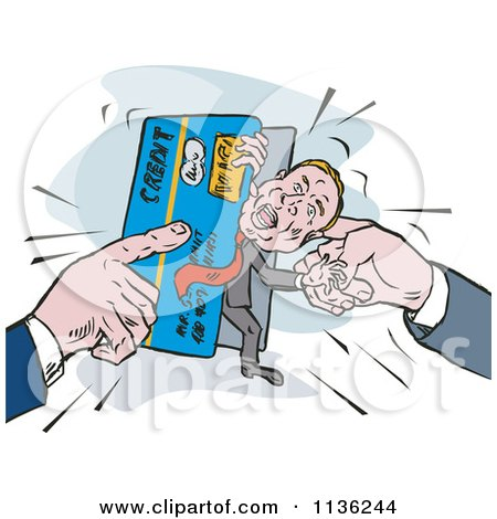 Clipart Of A Retro Man Being Squeezed In A Credit Card Crunch - Royalty Free Vector Illustration by patrimonio