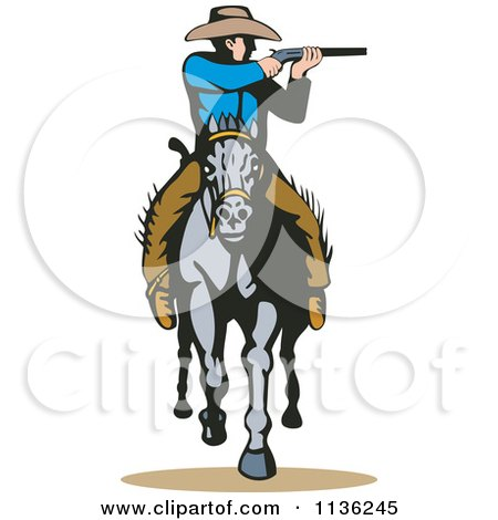 Clipart Of A Retro Cowboy Shooting On Horseback Royalty Free Vector Illustration