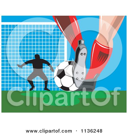 Clipart Of A Silhouetted Goalie And Soccer Player Feet With Ball - Royalty Free Vector Illustration by patrimonio