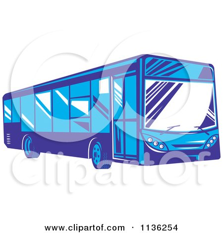 Clipart Of A Retro Blue City Bus - Royalty Free Vector Illustration by patrimonio