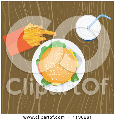 Clipart Of A Cheeseburger Fries And Soda On A Table - Royalty Free Vector Illustration by patrimonio
