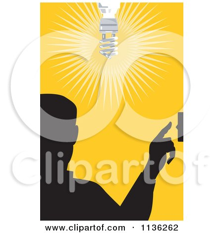 Clipart Of A Silhouetted Man Flipping A Light Switch Over Yellow - Royalty Free Vector Illustration by patrimonio