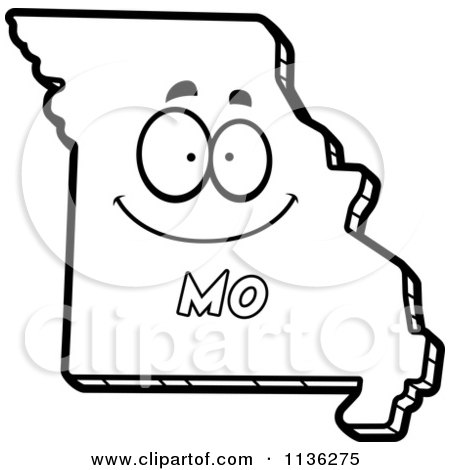 Cartoon Clipart Of An Outlined Happy Missouri State Character - Black And White Vector Coloring Page by Cory Thoman