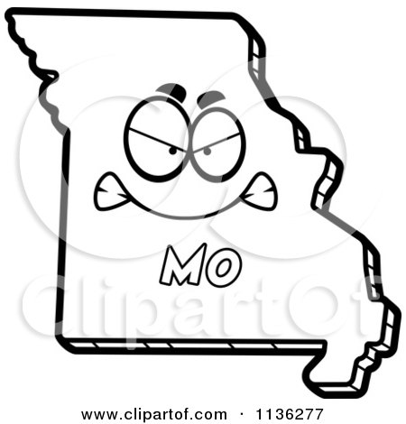 Cartoon Clipart Of An Outlined Mad Missouri State Character - Black And White Vector Coloring Page by Cory Thoman