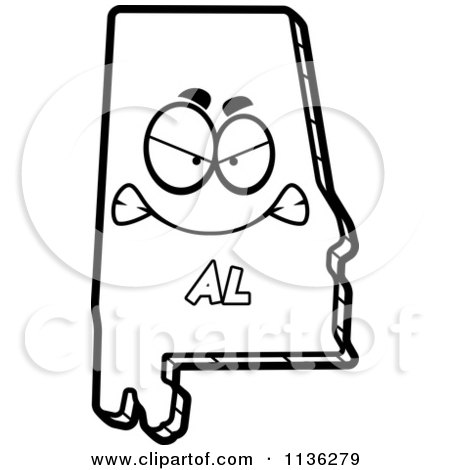 Royalty free vector clip art illustration of a green for State of alabama coloring pages