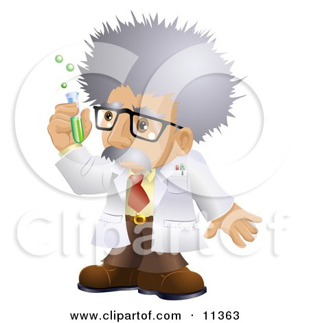 Male Scientist in a Laboratory, Holding a Test Tube Clipart Illustration by AtStockIllustration
