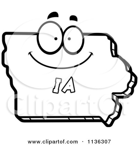 Cartoon clipart of an outlined happy iowa state character for Iowa coloring pages