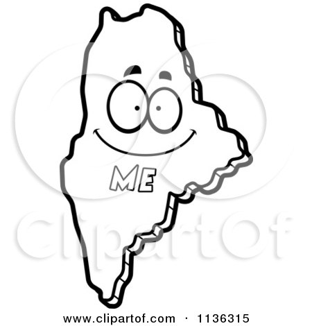 Cartoon Clipart Of An Outlined Mad Maine State Character - Black And White Vector Coloring Page by Cory Thoman
