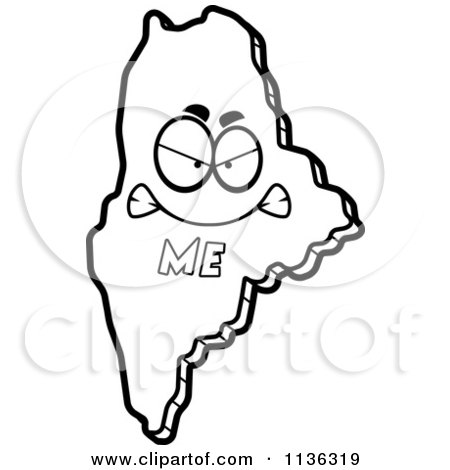 Cartoon Clipart Of An Outlined Happy Maine State Character - Black And White Vector Coloring Page by Cory Thoman