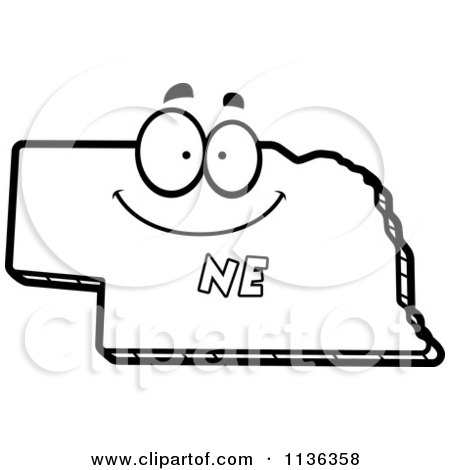 Cartoon clipart of an outlined happy nebraska state for Nebraska flag coloring page