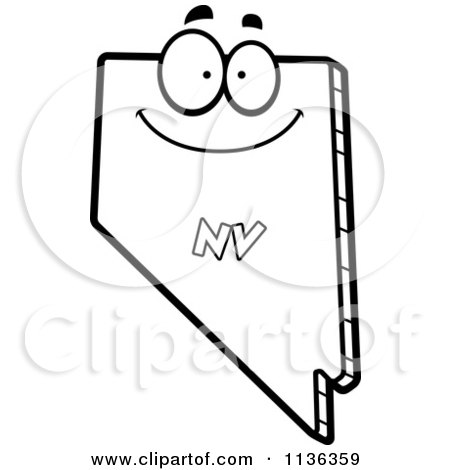 Cartoon Clipart Of An Outlined Happy Nevada State Character - Black And White Vector Coloring Page by Cory Thoman