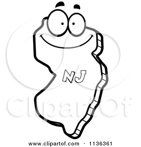 Cartoon Clipart Of An Outlined Happy New Jersey State Character - Black And White Vector Coloring Page by Cory Thoman