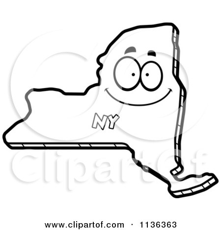 Cartoon Clipart Of An Outlined Happy New York State Character - Black And White Vector Coloring Page by Cory Thoman