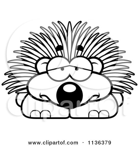 Cartoon Clipart Of An Outlined Depressed Porcupine - Black And White Vector Coloring Page by Cory Thoman