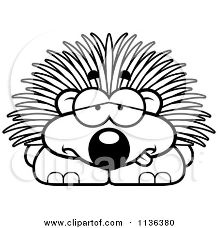 Cartoon Clipart Of An Outlined Sick Porcupine - Black And White Vector Coloring Page by Cory Thoman