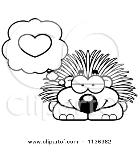 Cartoon Clipart Of An Outlined Porcupine In Love - Black And White Vector Coloring Page by Cory Thoman