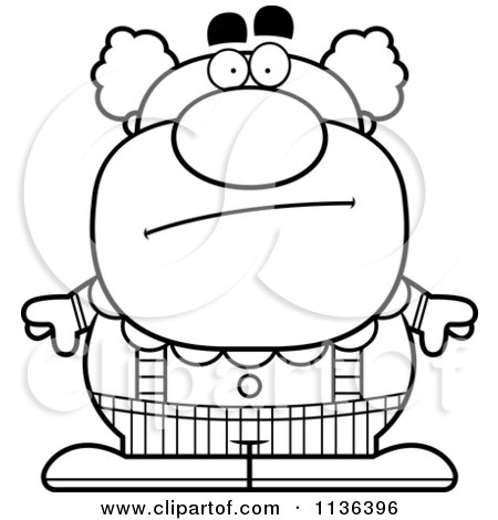 Cartoon Clipart Of An Outlined Calm Pudgy Circus Clown - Black And White Vector Coloring Page by Cory Thoman