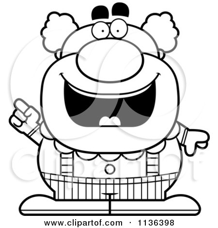 Cartoon Clipart Of An Outlined Pudgy Circus Clown With An Idea - Black And White Vector Coloring Page by Cory Thoman
