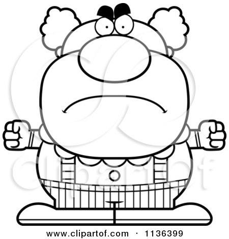 Cartoon Clipart Of An Outlined Angry Pudgy Circus Clown - Black And White Vector Coloring Page by Cory Thoman