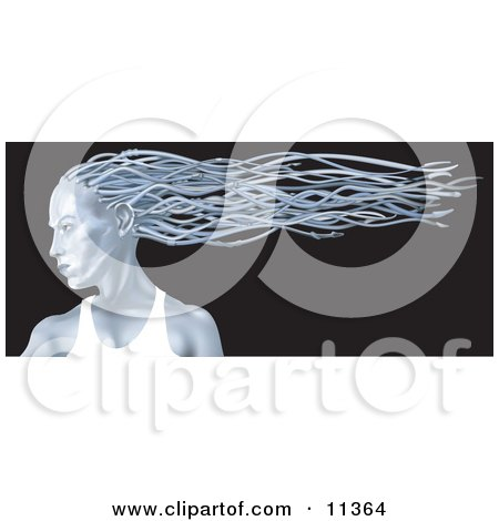 Blue Metallic Woman In Profile With Her Hair Flowing In The Breeze Behind Her Clipart Illustration
