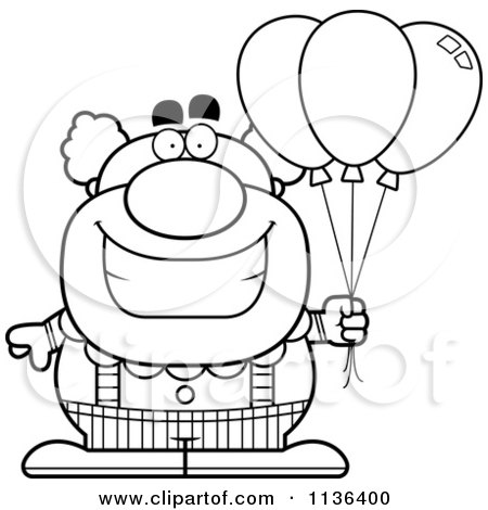 Cartoon Clipart Of An Outlined Pudgy Circus Clown With Balloons - Black And White Vector Coloring Page by Cory Thoman